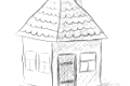 Cute little house sketch vector illustration