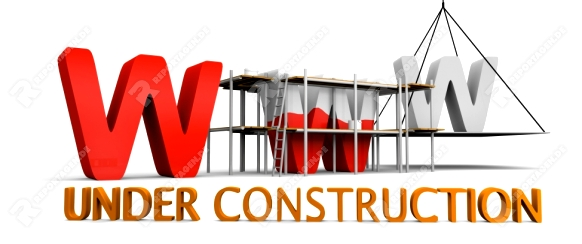 Simple website under construction concept with letters www being built and painted red