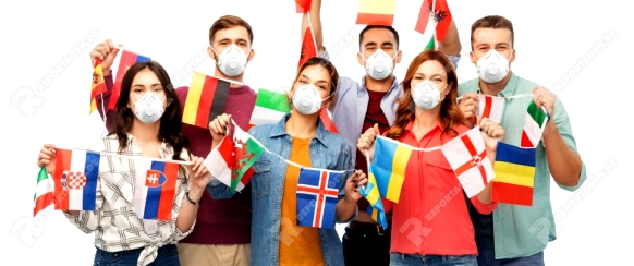 health, safety and pandemic concept - group of people wearing face protective mask or respirators for protection from virus disease with flags of different countries on string over white background