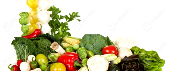 Fresh raw vegetables composition on white background