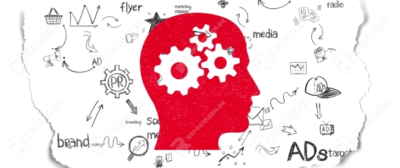 Advertising concept: Painted red Head With Gears icon on Torn Paper background with Scheme Of Hand Drawn Marketing Icons, 3d render