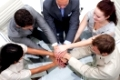 High angle of business team with hands together. Concept of teamwork