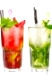 Two mojito cocktails with strawberry and lime fruits isolated on white background