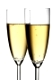 Two glasses of champagne isolated over white background
