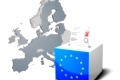 detailed illustration of a ballot box with european flag in front of the European Map, members of the European Union are colored darker