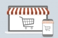 minimalistic illustration of a laptop and smartphone with shopping cart, mobile shopping concept, eps10 vector