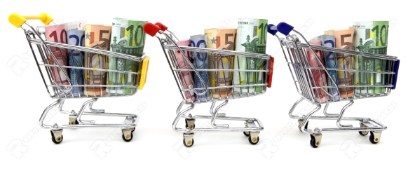 Mini shopping carts with euro banknotes in a row on white background