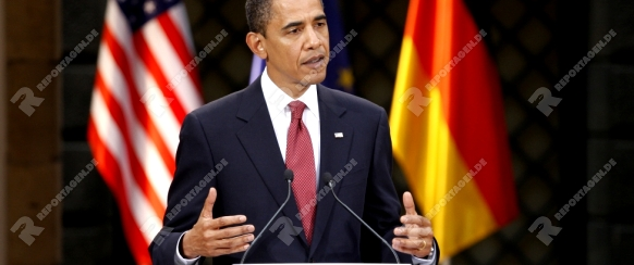 DRESDEN - JUNE 05:  Barack Obama, the 44th President of the United States at a Press conference with the german Chancellor Angela Merkel at the Residenz Schloss. June 05, 2009 in Dresden, Germany.