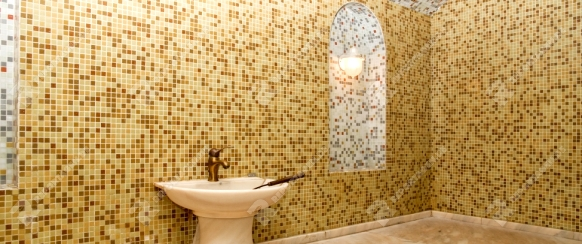 Turkish bath with ceramic tile in roman style