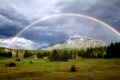 colorful rainbow over Karwendel Alps and meadows, Bavaria, Germany