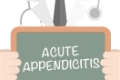 minimalistic illustration of a doctor holding a blackboard with Acute Appendicitis text, eps10 vector